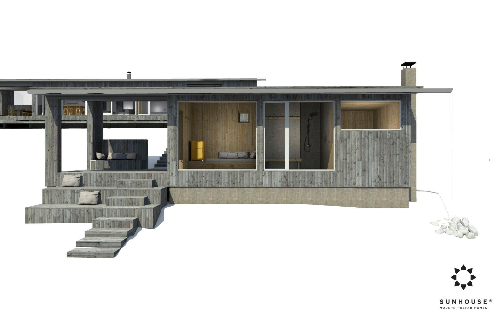 Sunhouse moderni sauna S1722_ulkoa (1)