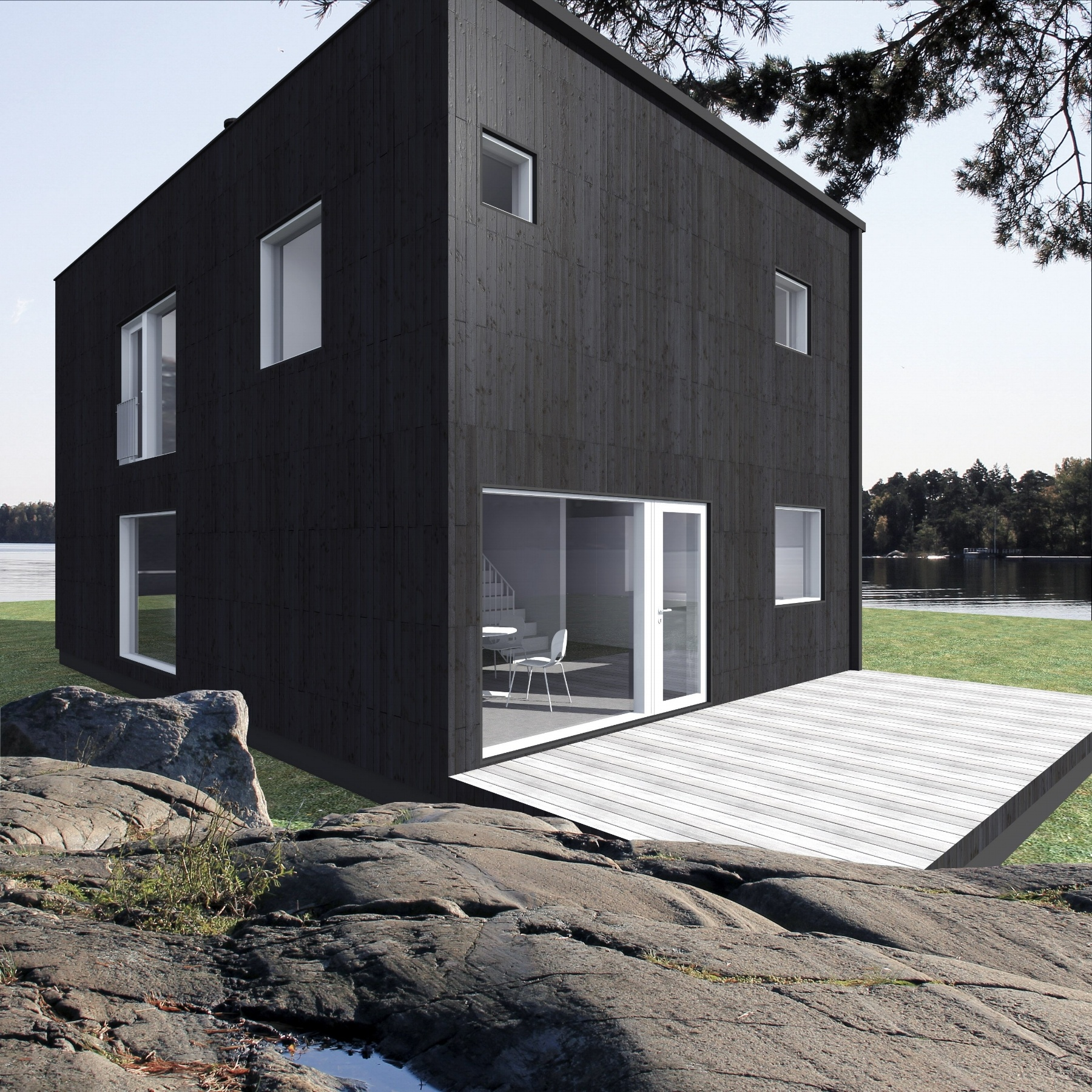 Sunhouse kuutiomainen talo Q1