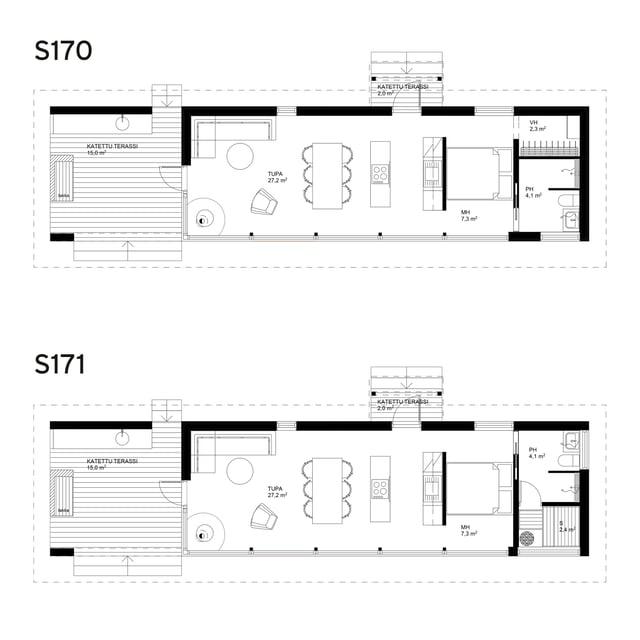 Sunhouse Linjakas talo S170-S171