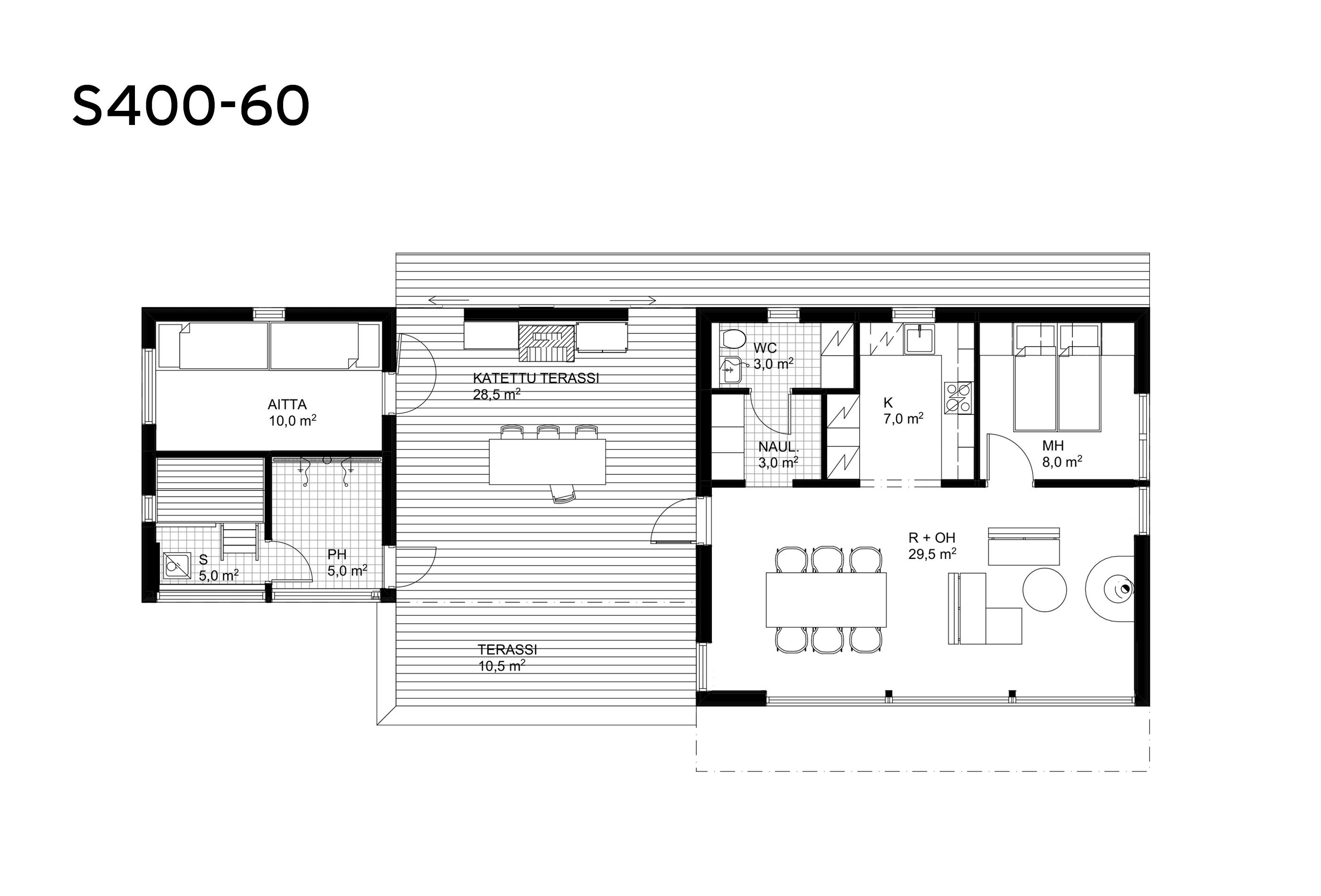 Sunhouse moderni mökki S400-60