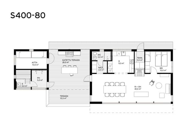 Sunhouse moderni mökki S400-80