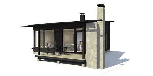Sunhouse Linjakas talo S215 - Moderni mökki