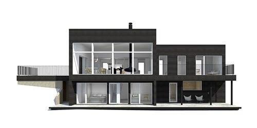Sunhouse Linjakas talo S560 - Moderni rinnetalo